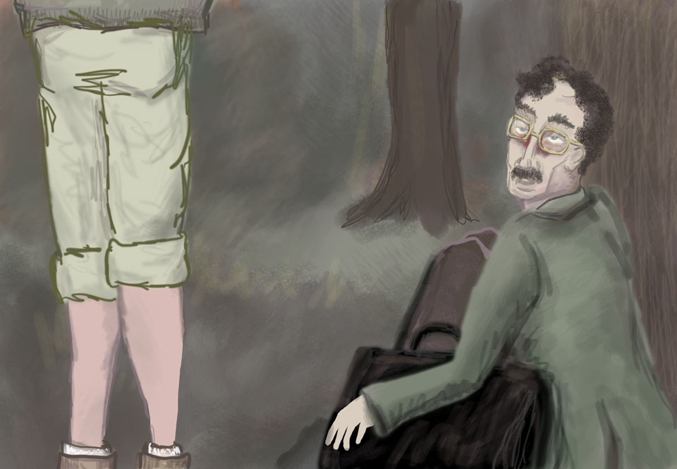 Benjamin seated in the forest, clutching his briefcase. Lisa has changed into pants and sturdy boots for the long walk.